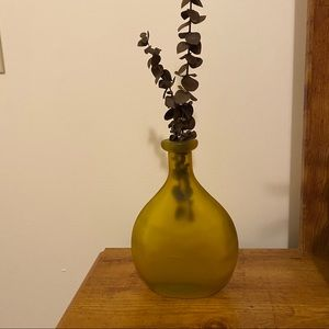 None Accents - BOHEMIAN Yellow Round Matte Glass Vase